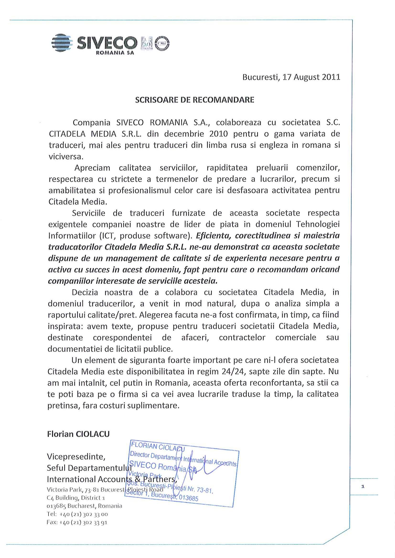 SCRISOARE DE RECOMANDARE Siveco
